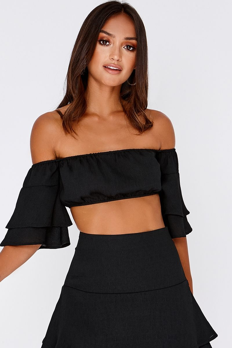 36af2e4d011 Sarah Ashcroft Black Bardot Frill Sleeve Crop Top | In The Style USA ...