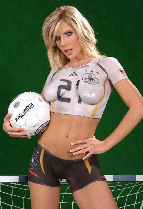 German women soccer body paint