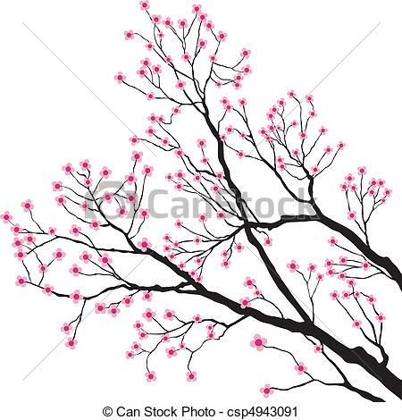 Vector Tree Branches With Pink Flowers Stock Illustration
