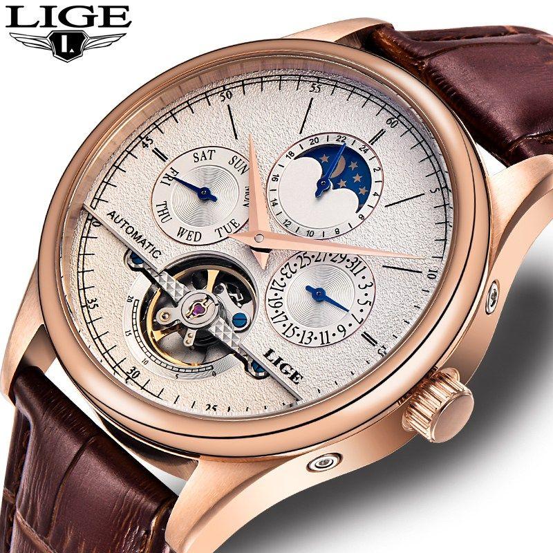 0972e81f691 LIGE Brand Men watches Automatic mechanical watch tourbillon Sport clock  leather Casual business wristwatch Gold relojes