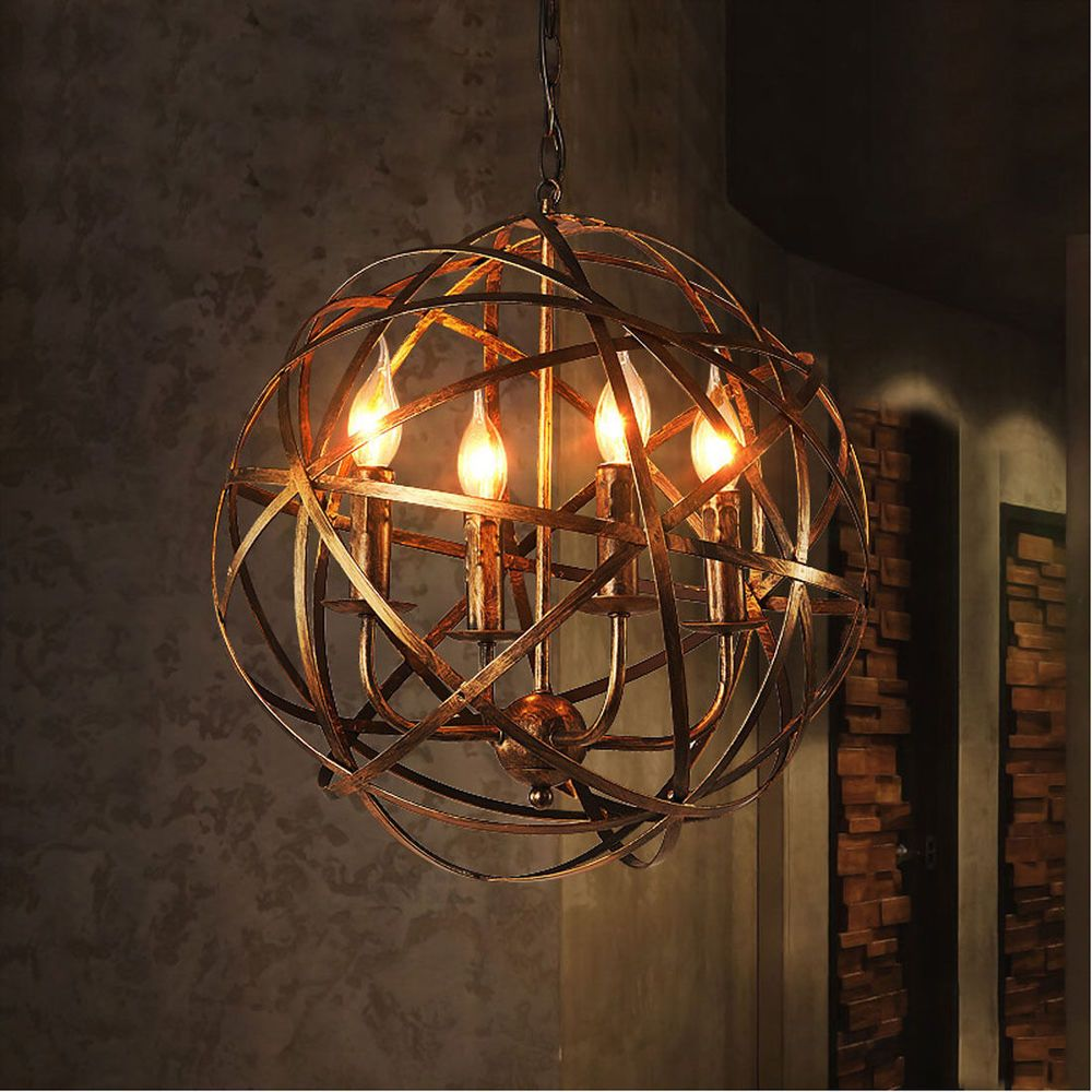 Details About Aged Round Metal Sphere Chandelier Orb Light Pendant