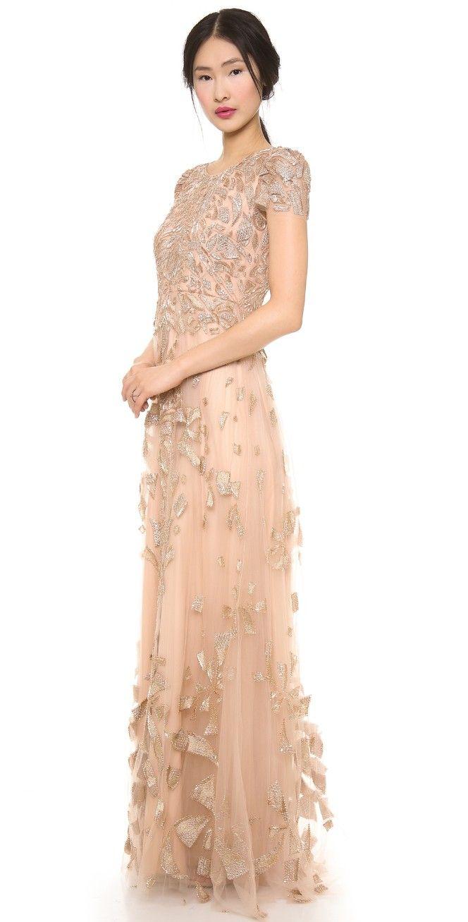 Monique Lhuillier Cap Sleeve Gown | SHOPBOP