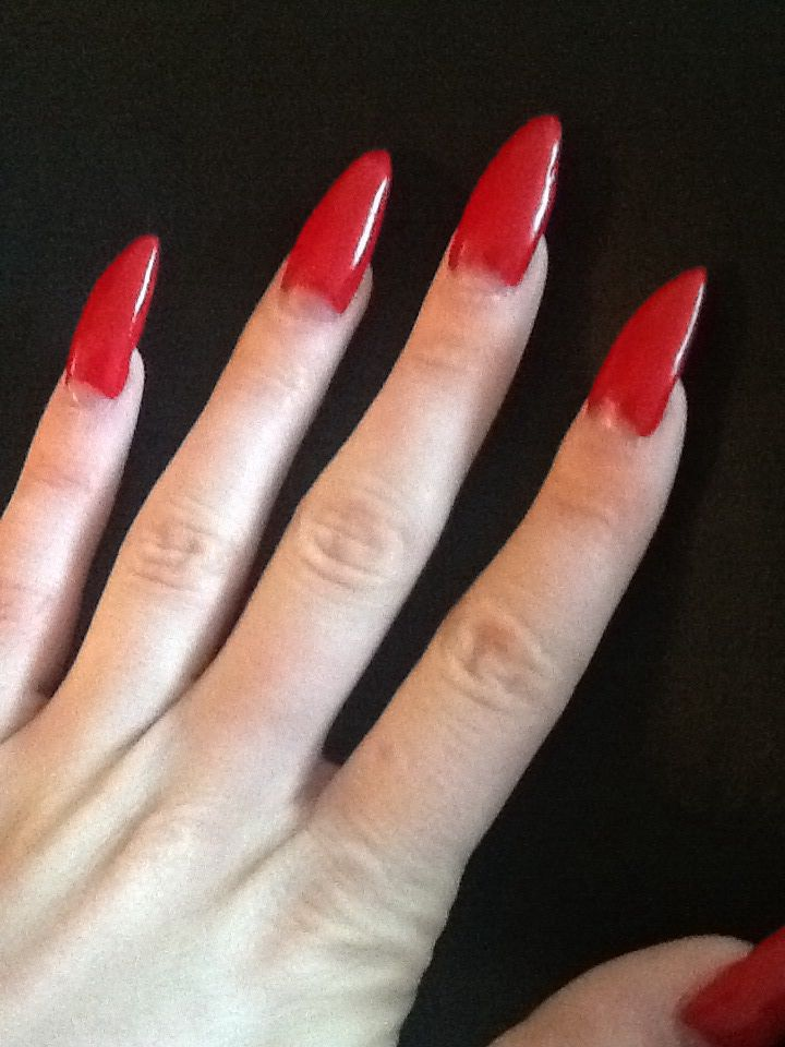Red Half Moon Stiletto Nails