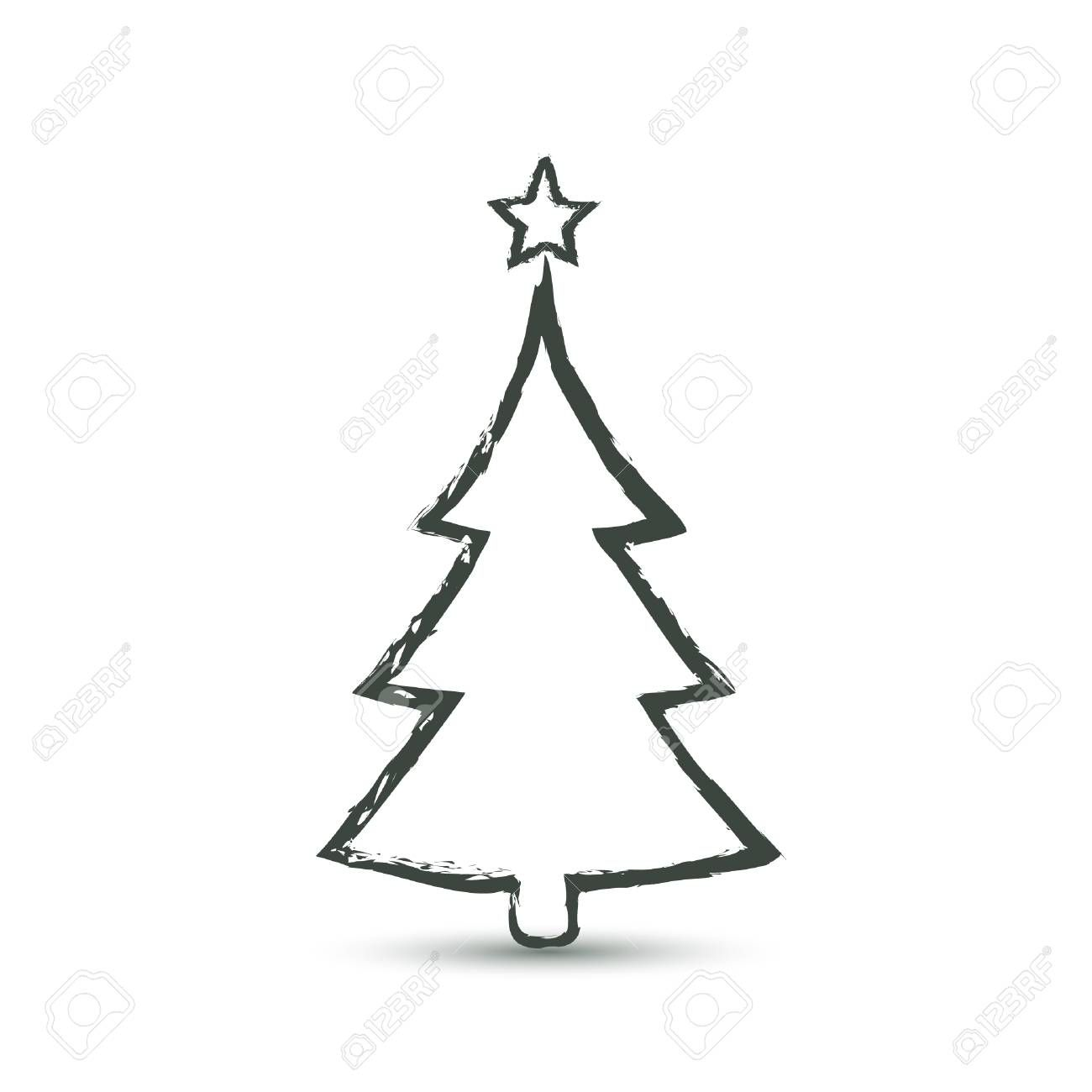 Christmas Trees Icon In Grunge Style Vector Simple Design Simple Christmas Tree Clipart Black And Whi In 2020 Christmas Tree Clipart Simple Christmas Tree Tree Icon