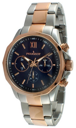 Peugeot_Men's_Stainless_Steel_and_Rose_Gold_Multi-function_Calendar_Watch