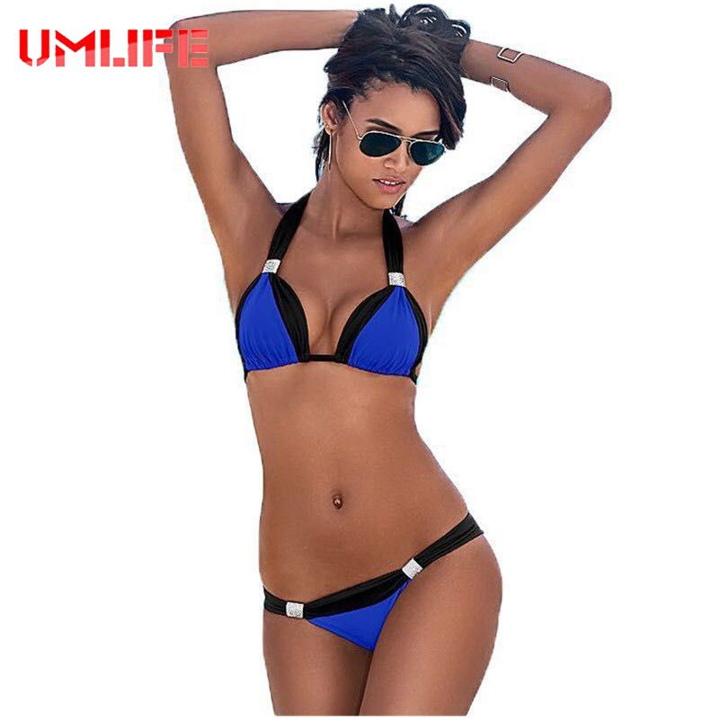 aaf007833af52 UMLIFE New Sexy Bikinis Women Swimsuit Bathing SwimSuits Brazilian  Beachwear Halter Push Up Bikini Set Retro Swimwear Monokini Bora Bora    AliExpress ...