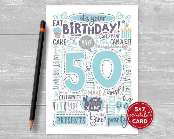 Printable 50th Birthday Card Doodled Fifty Birthday Card In Blue