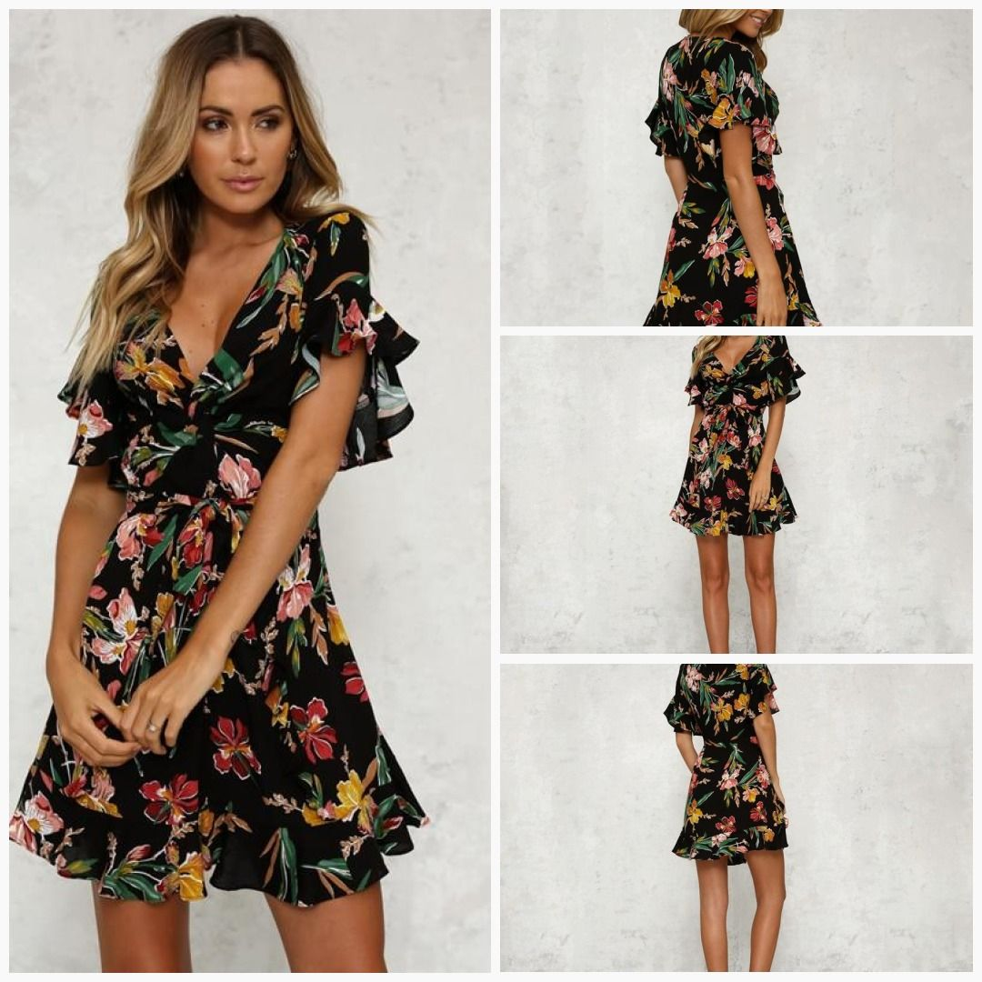 1bf94c5641 Summer Dress 2018 Women Sexy Deep V-Neck Black Flower Print Beach Dress
