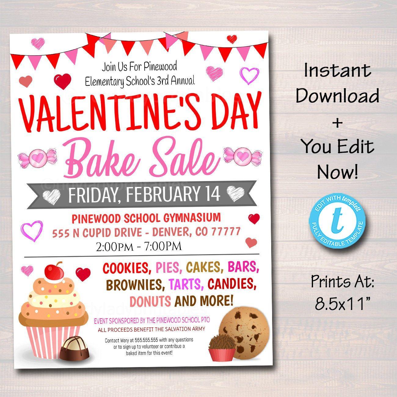 Valentine S Day Bake Sale Flyer Printable Pta Pto School Etsy Bake Sale Flyer Valentines Bakery Fundraiser Valentines