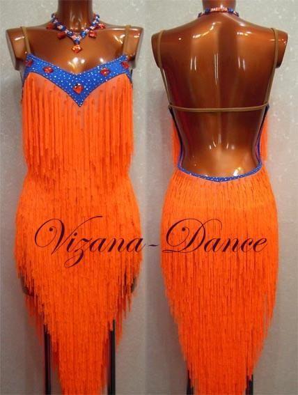 Латино платья с бахромой