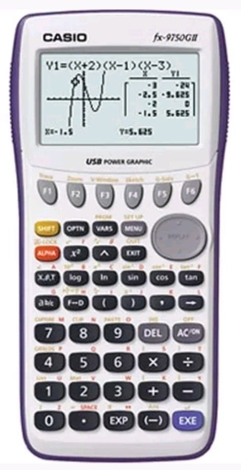 White Casio FX-9750GII Graphing Calculator USB Power Graphic SUV - financial calculator
