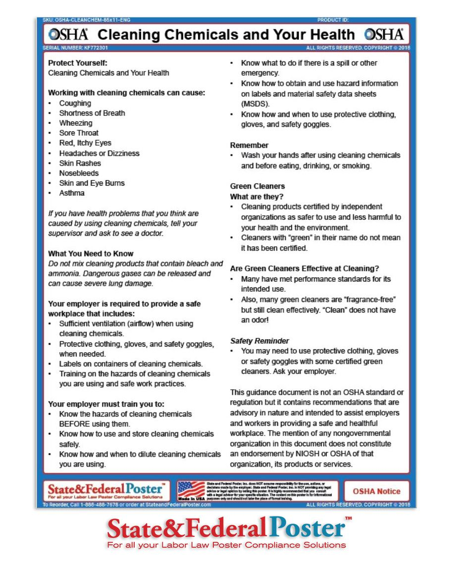 OSHA Cleaning Chemicals and Your Health! Informs employees
