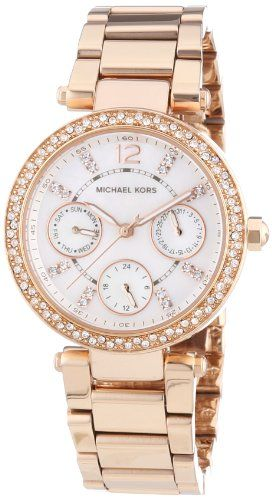 fba32cdfac57 MICHAEL KORS Mini Parker Womens Quartz Watch with Mother of Pearl Dial and  Rose…