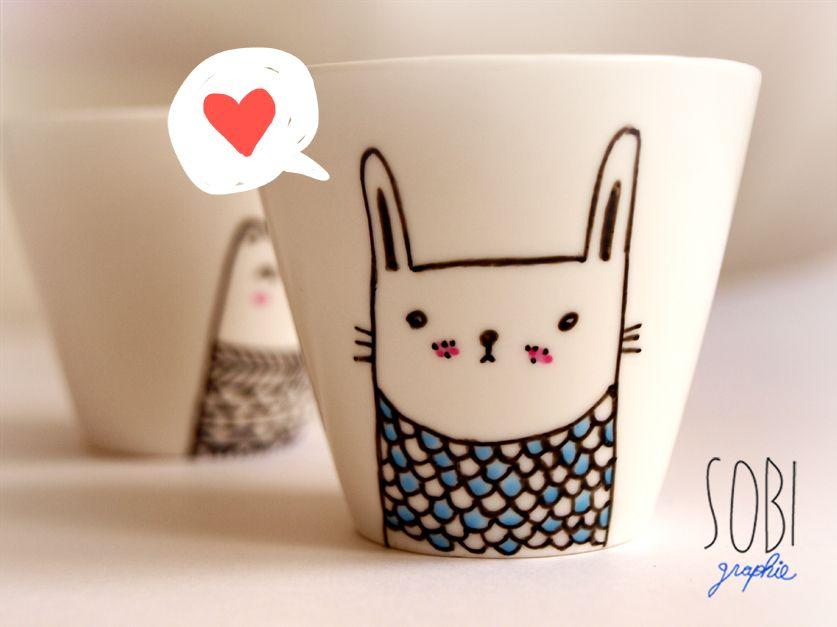 cute mugs craft inspiration pinterest keramik porzellan und porzellan bemalen. Black Bedroom Furniture Sets. Home Design Ideas