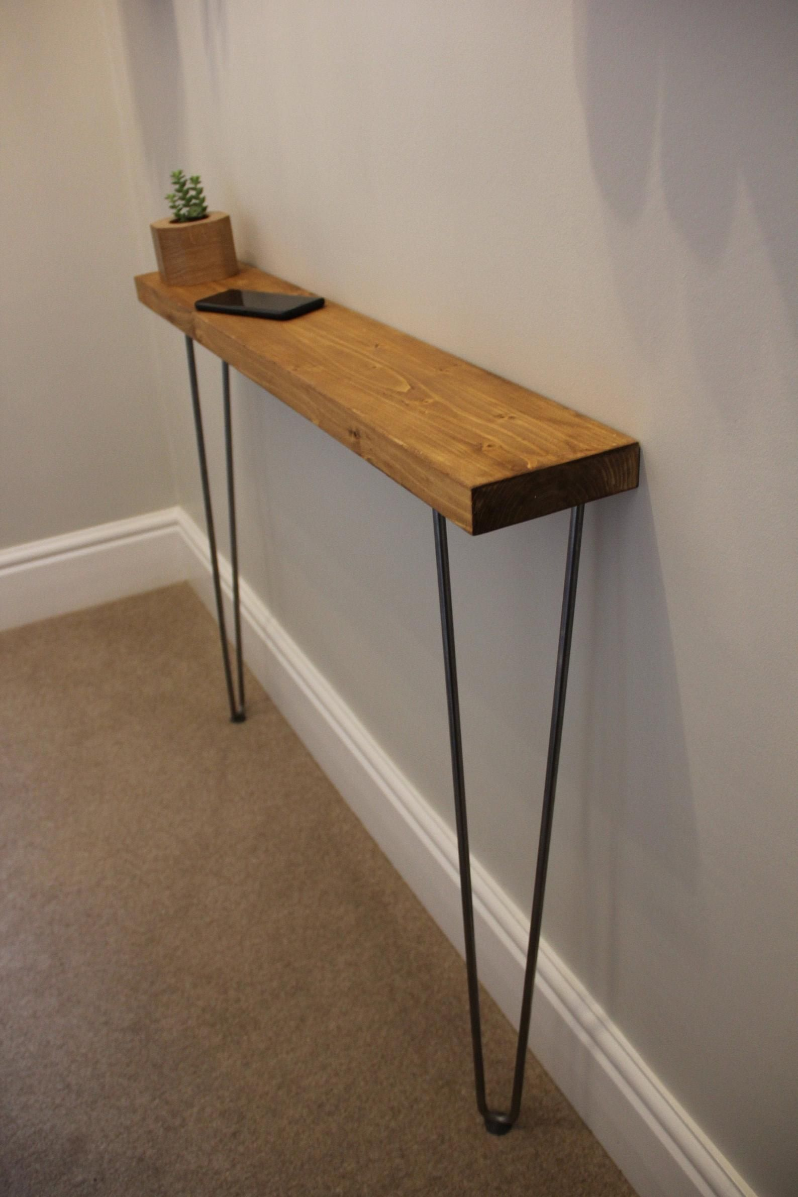 Rustic Console Table 86cm Height Narrow Hairpin Legs Wooden