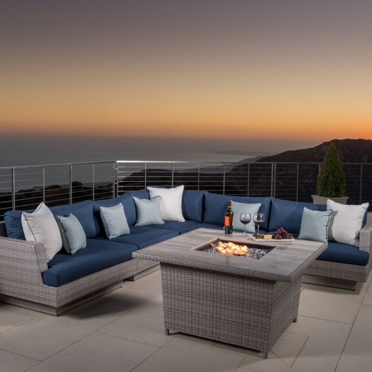 Portofino™ Comfort 6pc Sectional U0026 Fire Table   Laguna Blue