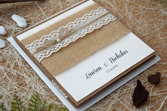 Custom Invitations Rustic Lace Wedding Invitation Kit Pocket