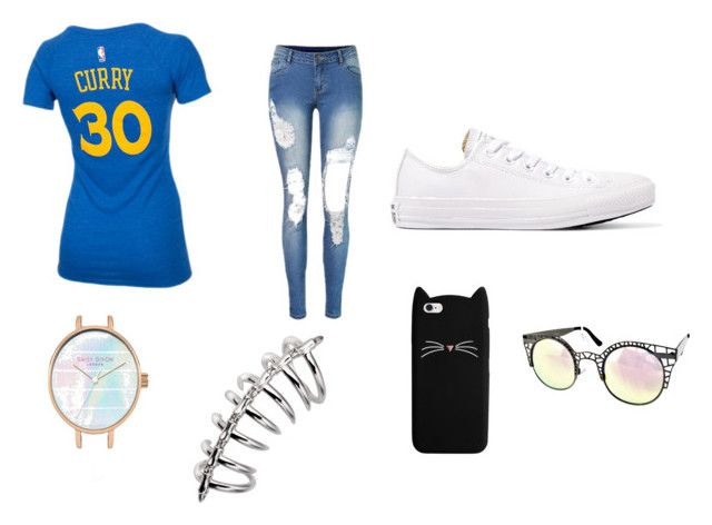"""Time for a big game"" by destiny-huerta29 ❤ liked on Polyvore featuring Converse and Quay"