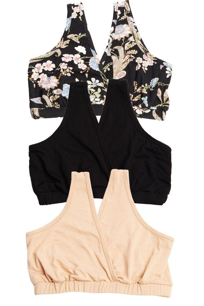 13eb49b264 Everly Grey 3-pack Sleep Bras in Black Floral