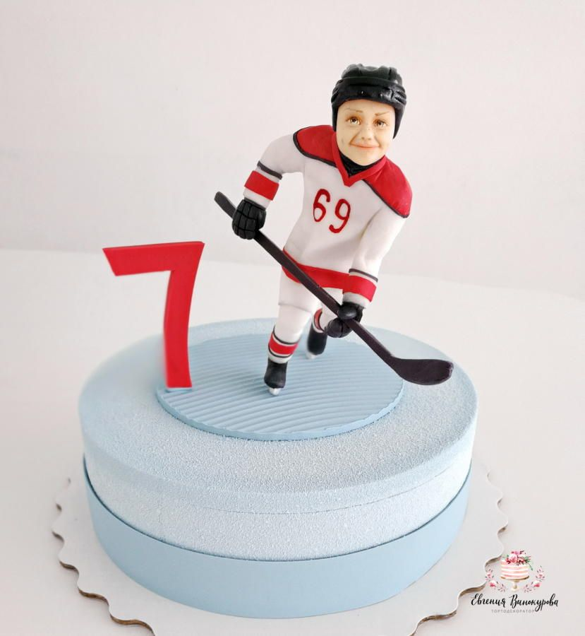 Cake For A Young Hockey Player By Evgenia Vinokurova Hockey Cakes Hockey Players Cake