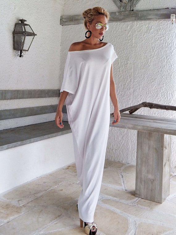 Weißes Maxi Kleid   Kaftan weiss   Assymetrischer Plus Size ... 0db6655553