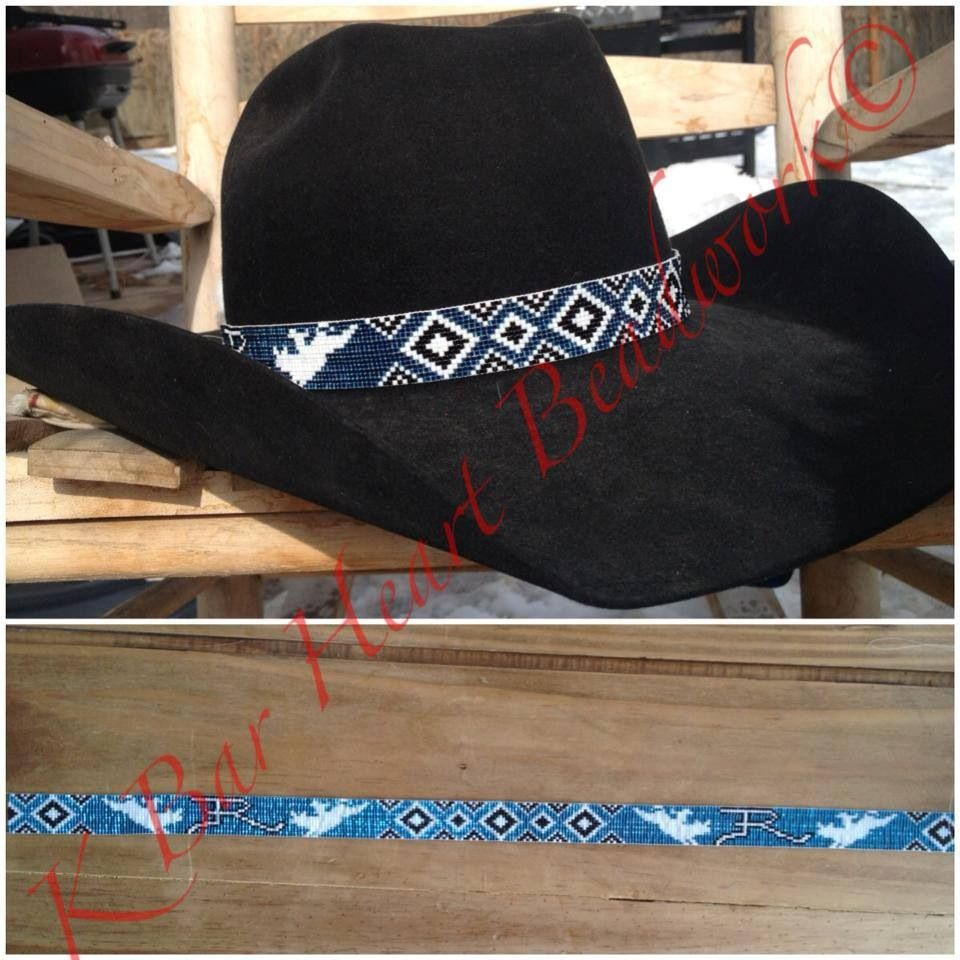 Beaded hat band. K bar heart beads.  69750e5930d