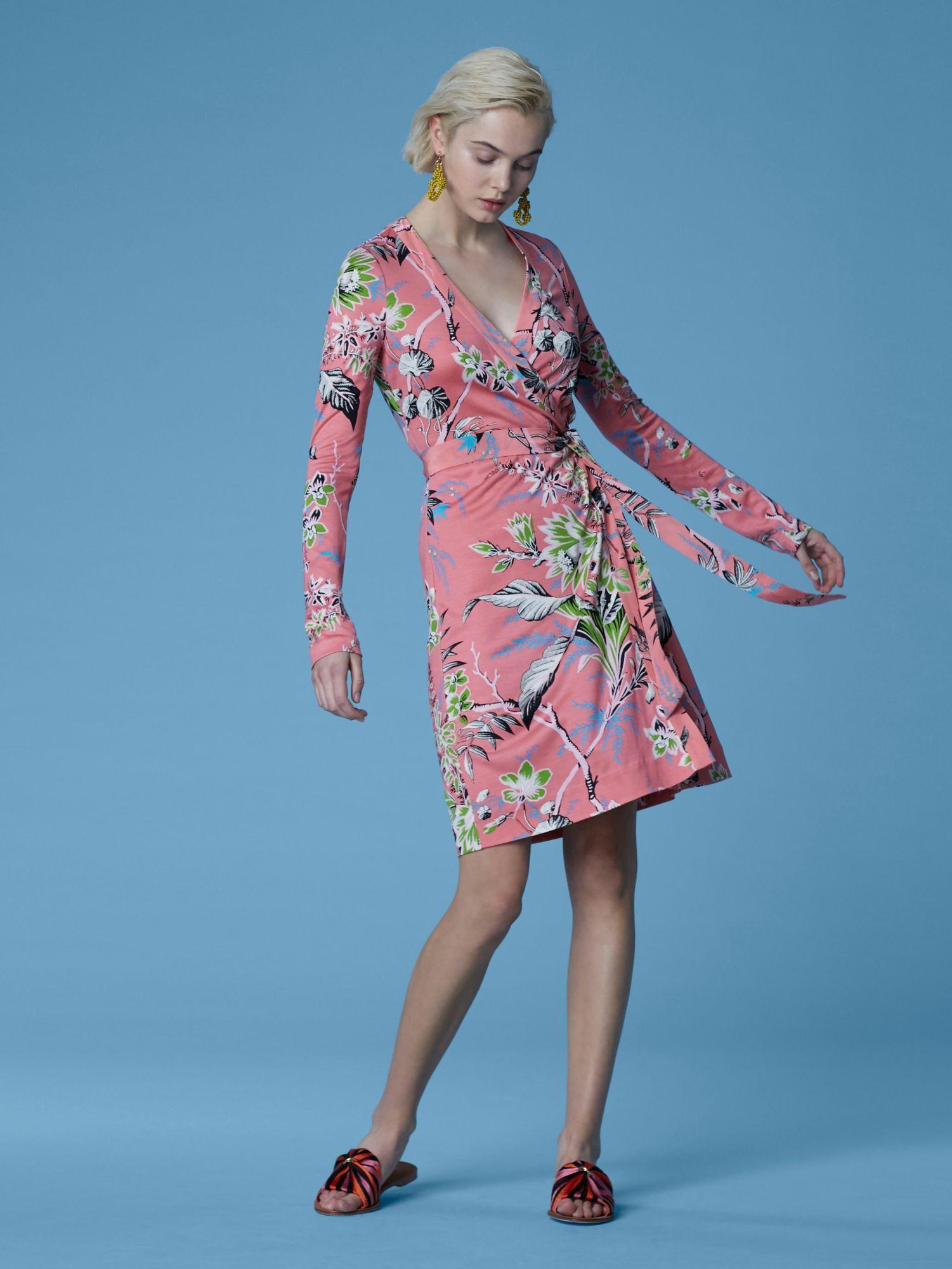 32da4507ca1 Diane Von Furstenberg Dvf New Julian Long Banded Silk Jersey Wrap Dress -  Pearson Cherry 6