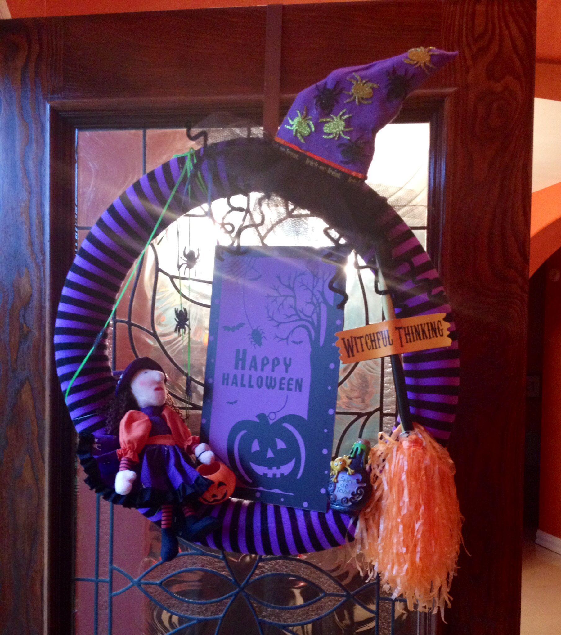 Halloween wreath dollar store hula hoop covered with pool