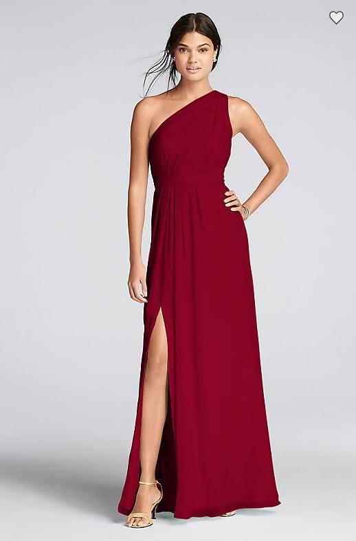 fe6afeb2523 David s Bridal Long One-Shoulder Crinkle Chiffon Dress F18055 6