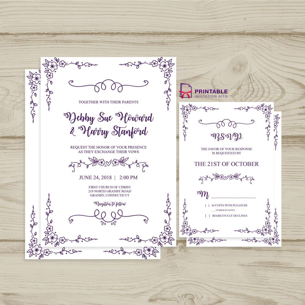 Free Pdf Download Wedding Invitation And Rsvp Doodle F Free