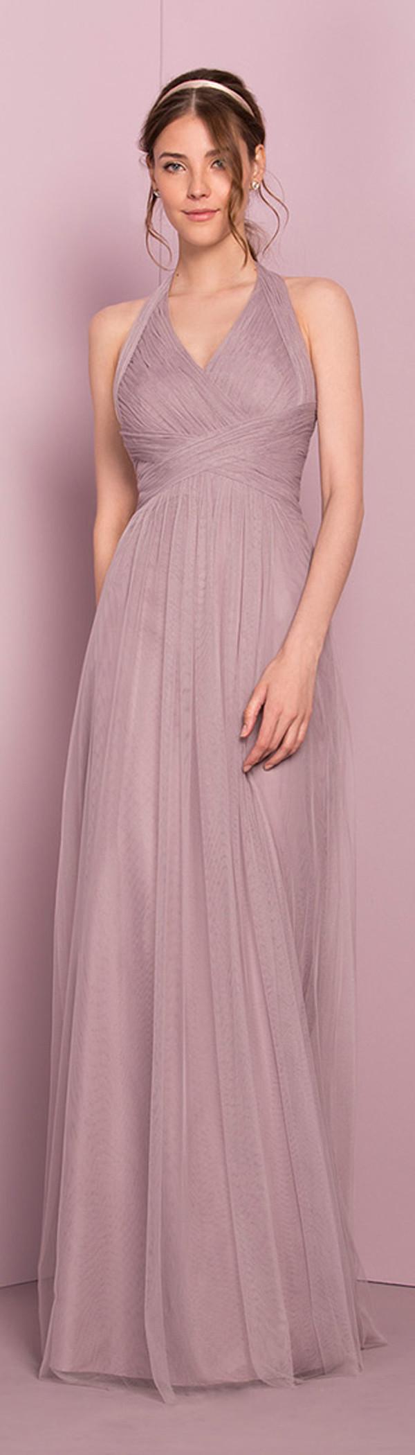 Gorgeous tulle halter neckline longlength aline bridesmaide dress