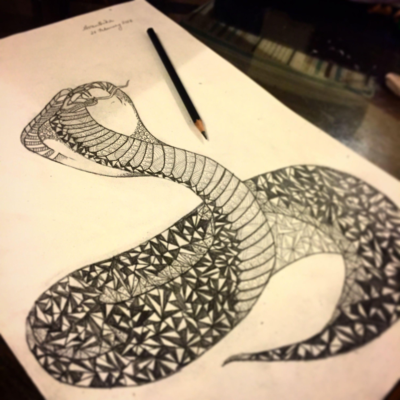 King cobra pencil sketch avanthika anand