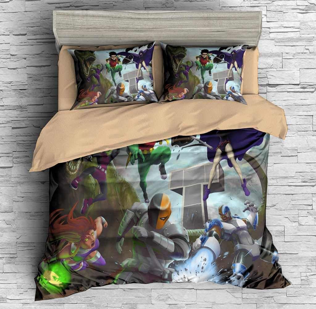 3d customize teen titans bedding set duvet cover set. Black Bedroom Furniture Sets. Home Design Ideas
