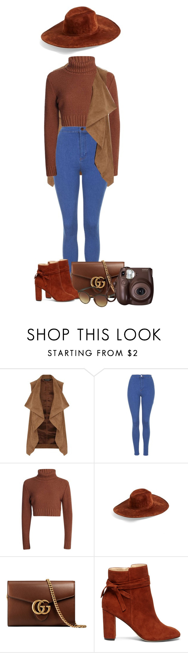 """Untitled #632"" by dida-zalesakova ❤ liked on Polyvore featuring Dorothy Perkins, Topshop, Hinge, Gucci, Sole Society and Fujifilm"