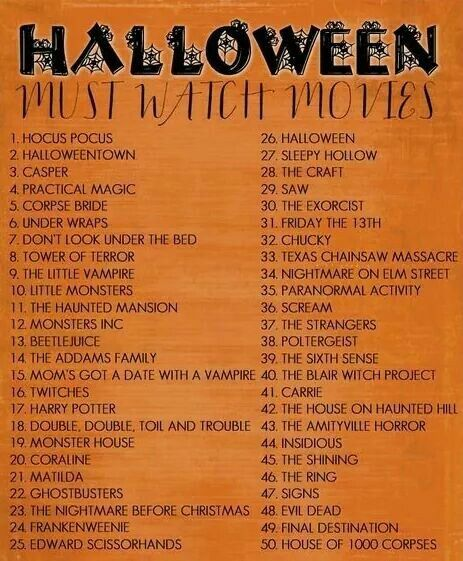 Halloween Movie Checklist | Halloween | Halloween movies list