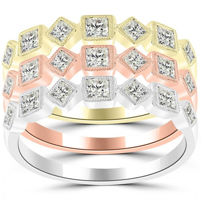 1.65 Ct. Tri Color Stackable Ring Set Micro Pave Wedding Band 14k Gold - SRS-018 - Stackable Rings - Rings