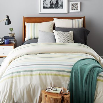 Playa Stripe Duvet Cover + Shams - Celery Root #westelm  for a more gender-neutral look for the guest room?