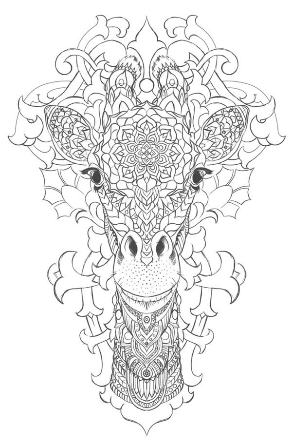 Giraffe On Behance Animal Coloring Pages Coloring Pages Adult Coloring Pages