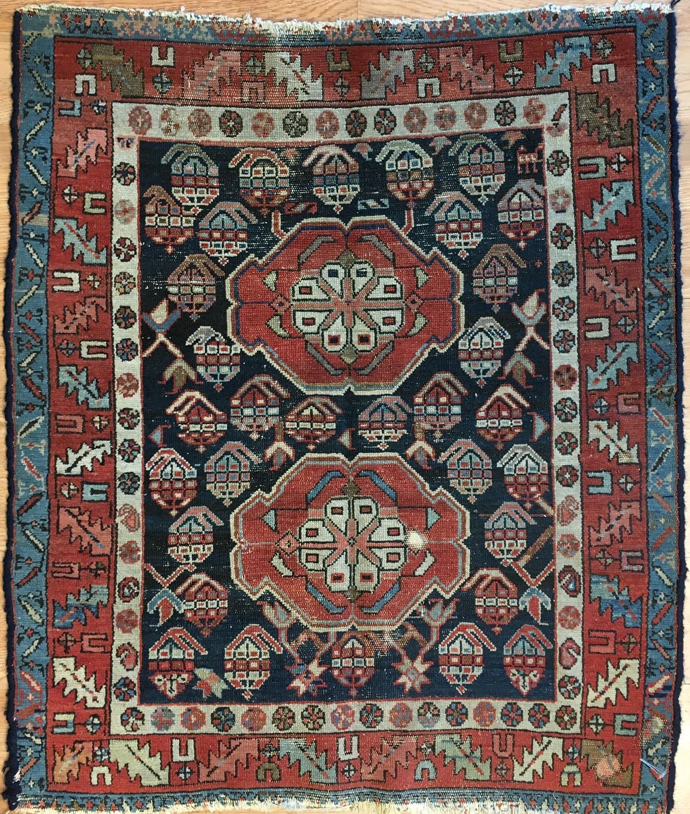 Handsome Heriz 1900s Antique Karaja Rug Persian Tribal Carpet Woven In The Northwest Section Of Iran And Northern Part District