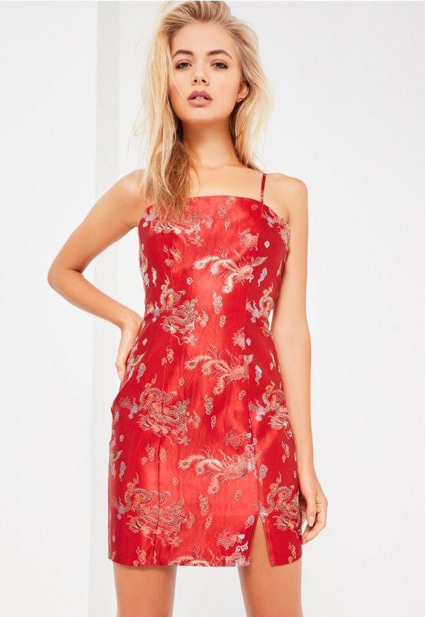 e070e762b8ee8 Galore Red Oriental Satin Mini Dress - Missguided