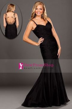 2015 Special Occasion Dresses Mermaid/Trumpet Spaghetti Straps Floor Length Zipper Up Back With Ruffles Black