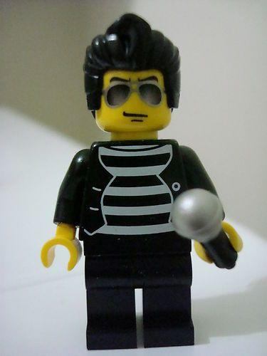Custom Elvis Presley minifigure on lego bricks