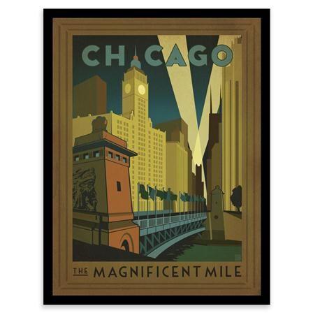 Lámina enmarcada Chicago The Magnificent Mile de Vintage USA, 40 x ...