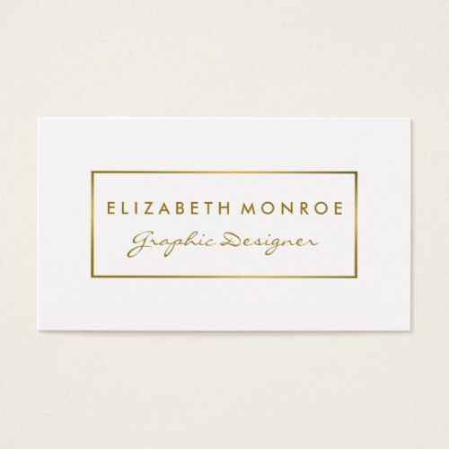 Simple White Gold Foil Effect Business Card Zazzle Com Simple White Gold Printing Business Cards Trendy Business Cards