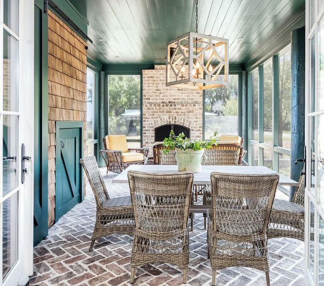 Herringbone Brick Flooring. Screened In Patio With