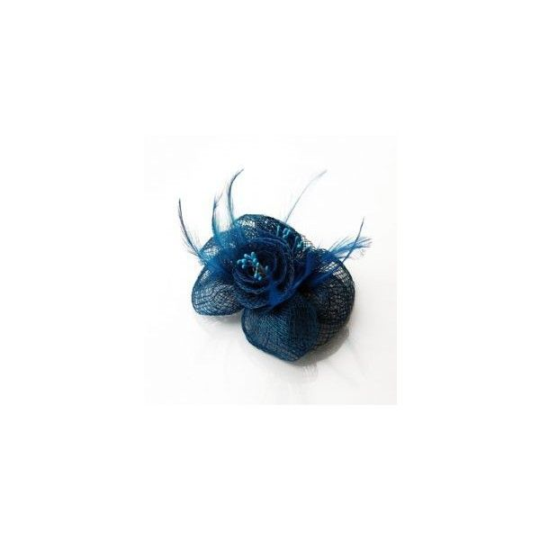 Flower Teal Blue Mesh Hair Fascinator ❤ liked on Polyvore
