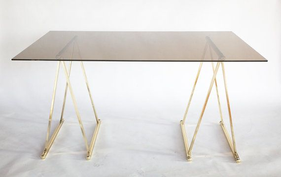Elegant Vintage Smoked Glass Top Desk Table Featuring Gold Plated Metal Sawhorse Legs With Beautiful