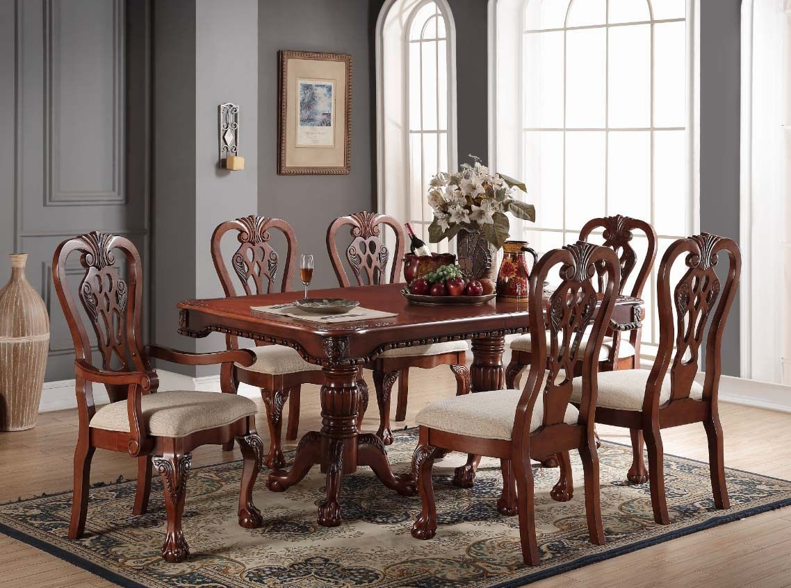 New 7Pc Traditional Formal Geneva Carved Cherry Finish Wood Dining Classy Cherry Wood Dining Room Set Review