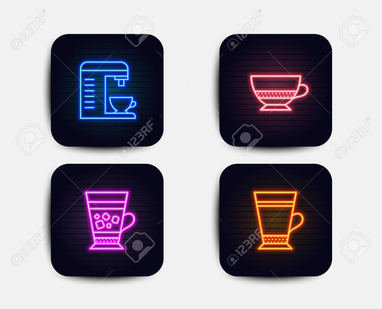 Neon glow lights. Set of Bombon coffee, Coffee machine and Frappe icons. Latte sign. Cafe bombon, Cappuccino machine, Cold drink. Neon icons. Glowing light banners. Vector Illustration , #AD, #machine, #Coffee, #Frappe, #Latte, #icons #cappuccinomachine