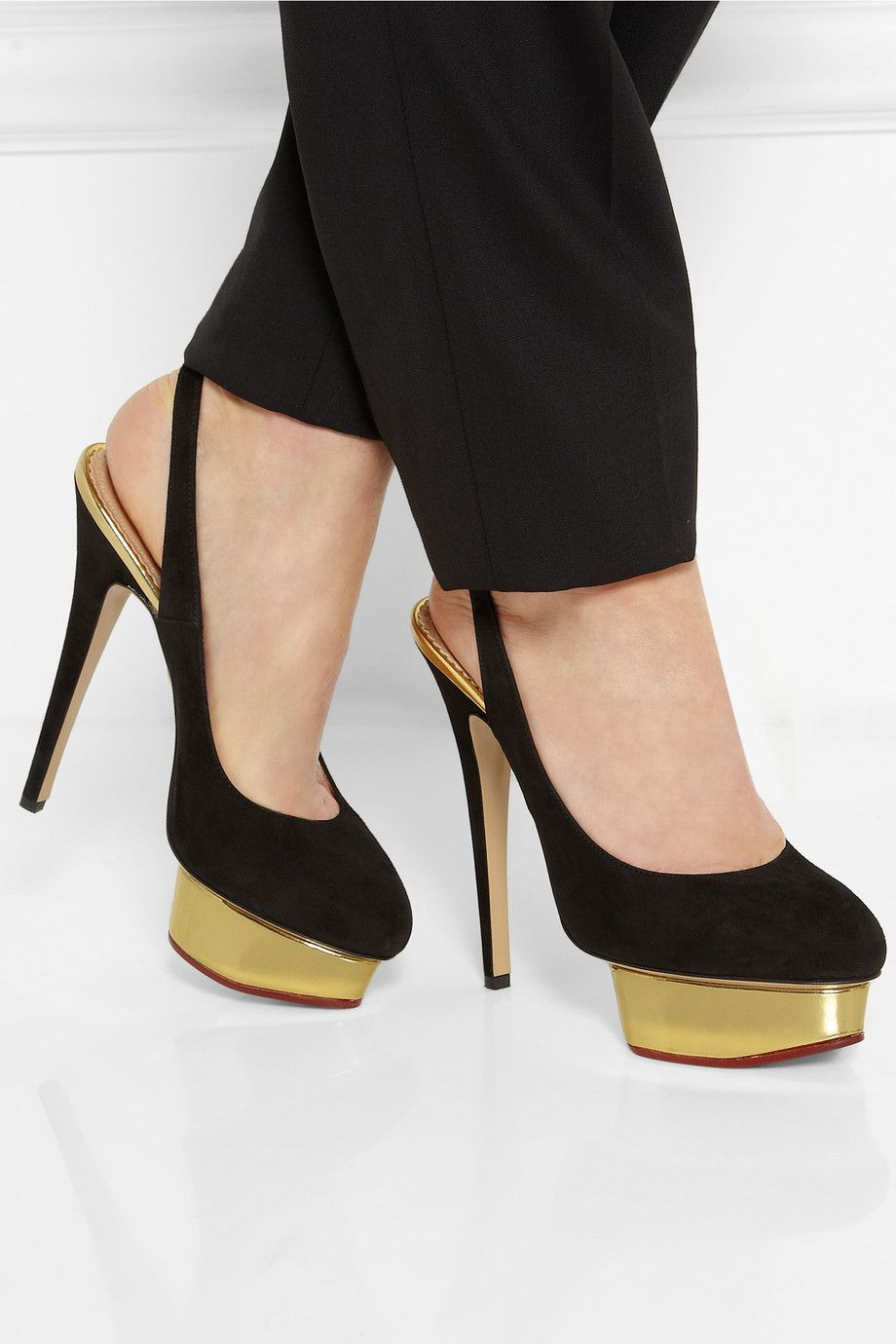 Charlotte Olympia Suede Slingback Pumps latest online fashionable for sale cbX6SN